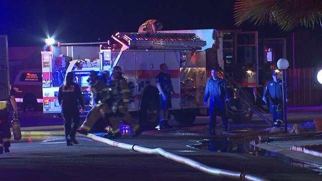 Peoria firefighters battled a mobile home fire Monday morning. (Source: 3TV/CBS 5)