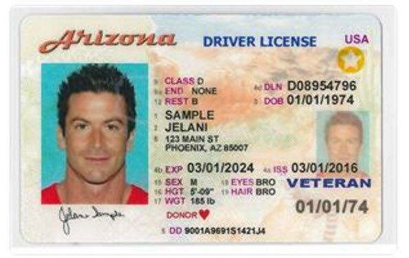 Sample Arizona driver license (Source: Arizona Department of Transportation Motor Vehicle Division)