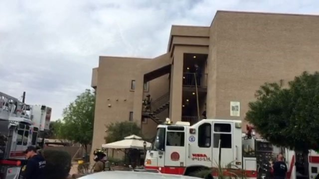 Mesa fire units were staging at an apartment fire Monday morning. (Source:  Mesa Fire & Medical Department)