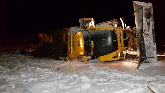 Two ADOT workers were injured on Jan. 21 when a semi almmed into a snowplow on I-40 near Seligman. (Source: ADOT)