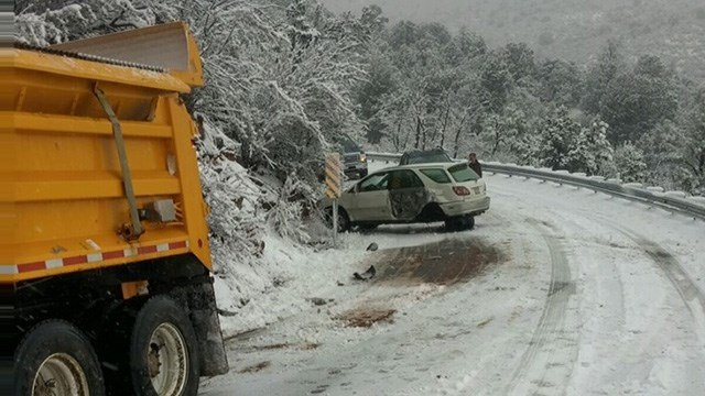 A Jan. 19 crash involved an SUV and snowplow clearing State Route 89A between Prescott Valley and Jerome. (Source: ADOT)