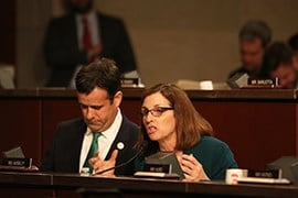 Rep. Martha McSally R-Tucson, expresses frustration during a hearing with the Homeland Security secretary on the current state of border security, citing administrative problems and border gaps. (Source: Andres Guerra Luz/Cronkite News)