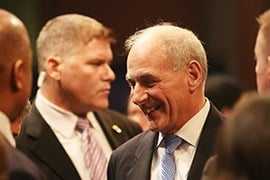 New Homeland Security Secretary John Kelly smiles after he testified to a House committee on the Trump administration's plans to secure the border and temporarily ban refugees to the U.S. (Source: Andres Guerra Luz/Cronkite News)