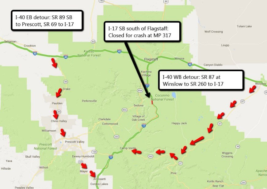 ADOT has mapped out alternate routes for motorists affected by the SB I-17 closure. (Source: Arizona Department of Transportation)
