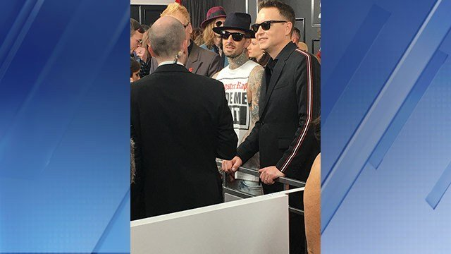 Blink 182 on the red carpet. (Source: 3TV/CBS 5)
