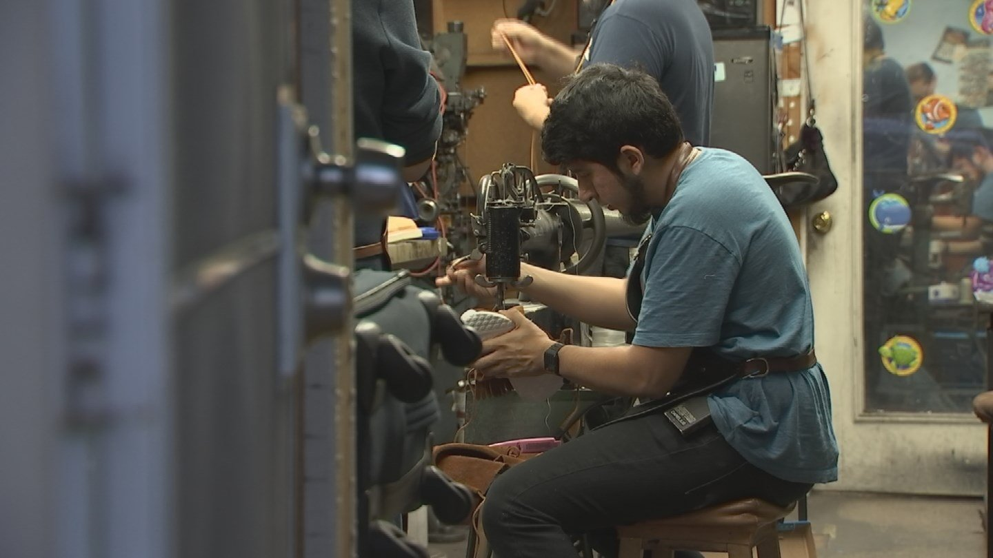 Randy Lucas grew up watching and learning his father's craft and has now taken that knowledge and is using it to create unique takes on sneakers. (Source: 3TV/CBS 5)