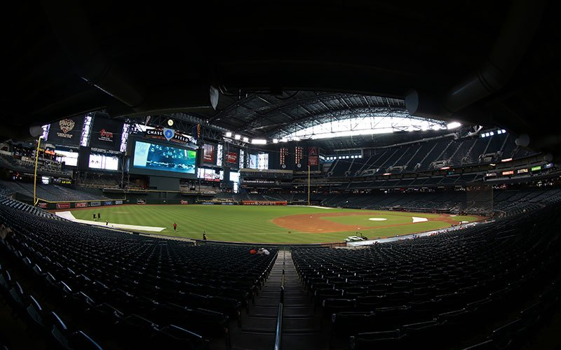 The interior of Chase Field is pictured Sunday Aug. 30, 2015 in Phoenix. Chase Field is home of the Arizona Diamondbacks. (Source: Jacob Stanek/Cronkite News)