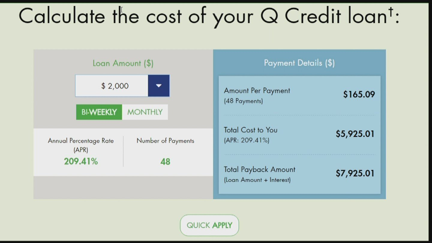 Q Credit offers a calculator on their website and clearly states their interest rate is more than 209 percent.  (Source: 3TV)