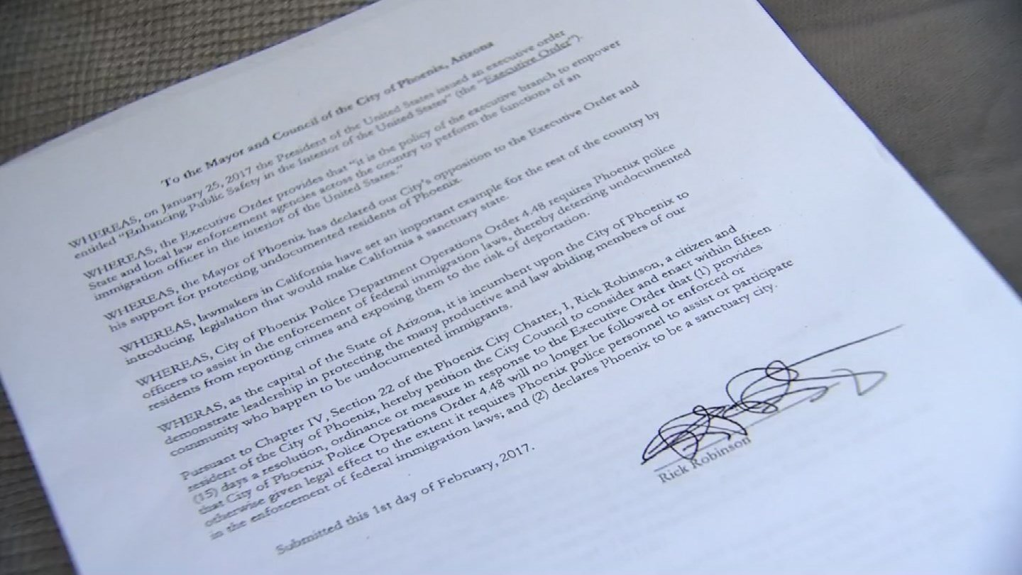 The citizen petition asks the council to declare Phoenix a sanctuary city and stop Phoenix police officers from coordinating with ICE for immigration enforcement. (Source: 3TV/CBS 5)
