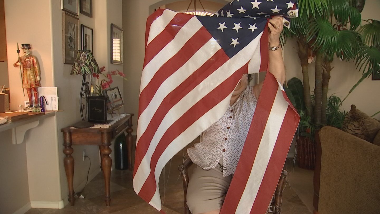 Mary Eklund said somebody shredded her American flag in Gilbert. (Source: 3TV/CBS 5)