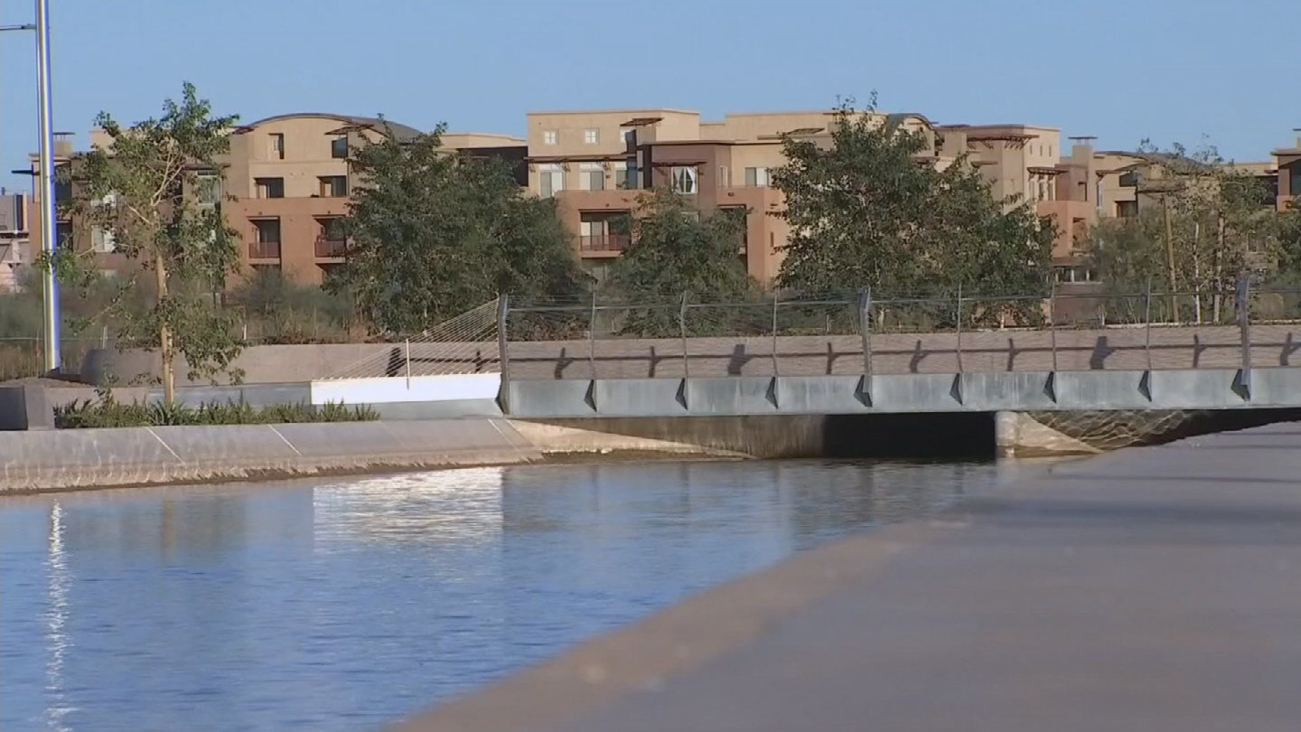 The new multi-use pathway along the Grand Canal at the Grand at Papago Park Center in Tempe is now that is open to the public. (Source: 3TV/CBS 5)