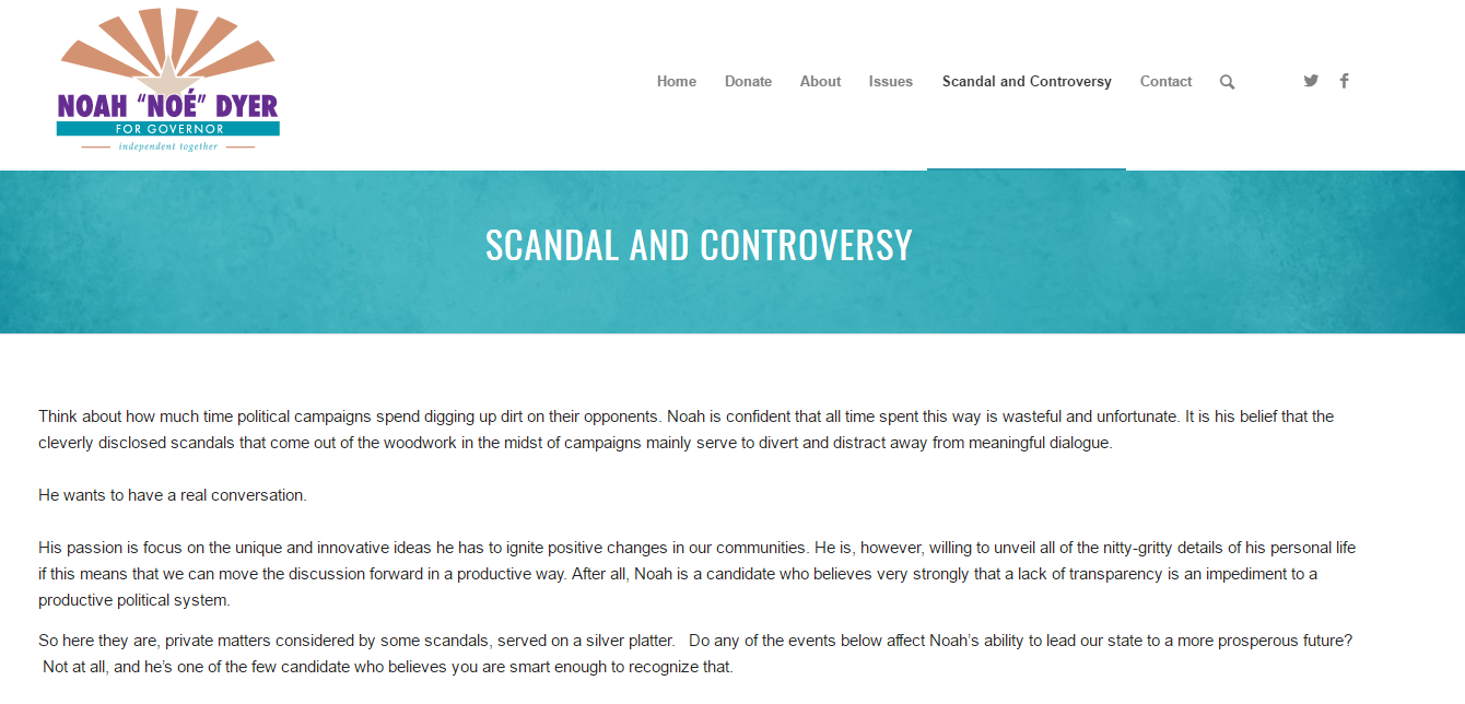 'Sandal and Controversy' page on Dyer's campaign website (Source: NoahDyer.com)