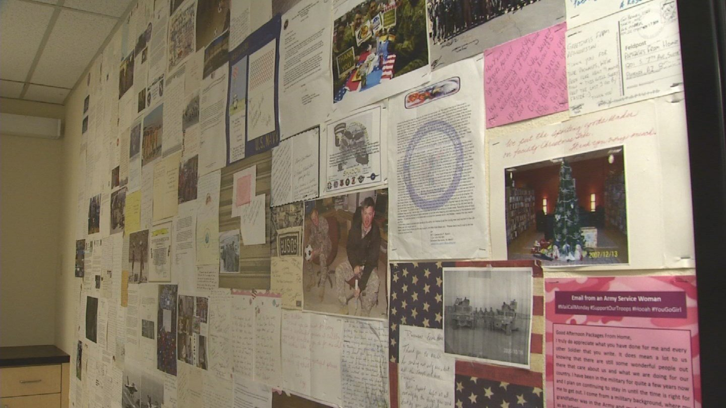 Thank-you letters from service members now serve as wallpaper because there are so many. (Source: 3TV/CBS 5)