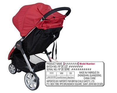 BRITAX B-AGILE: To find the model number, refer to the Date of Manufacture (DOM) label. The label is located on the lower frame. (Source: Britax.com)