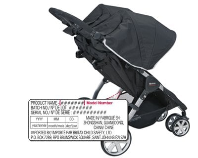 BRITAX B-AGILE DOUBLE: To find the model number, refer to the Date of Manufacture (DOM) label. The label is located on the lower frame