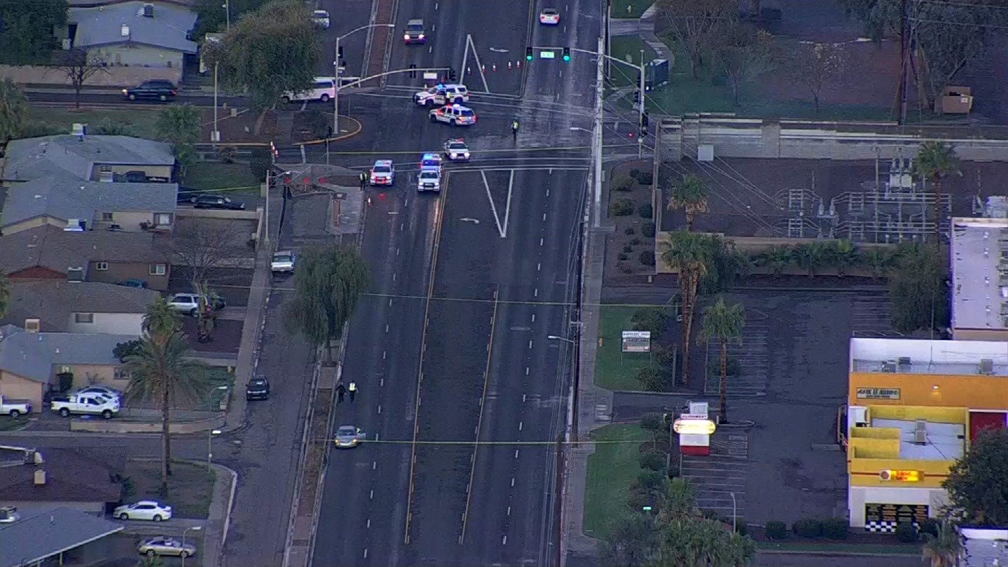 Police investigate after a man was struck by a car in the area of 55th Avenue and Camelback Road. (Source: 3TV/CBS 5)