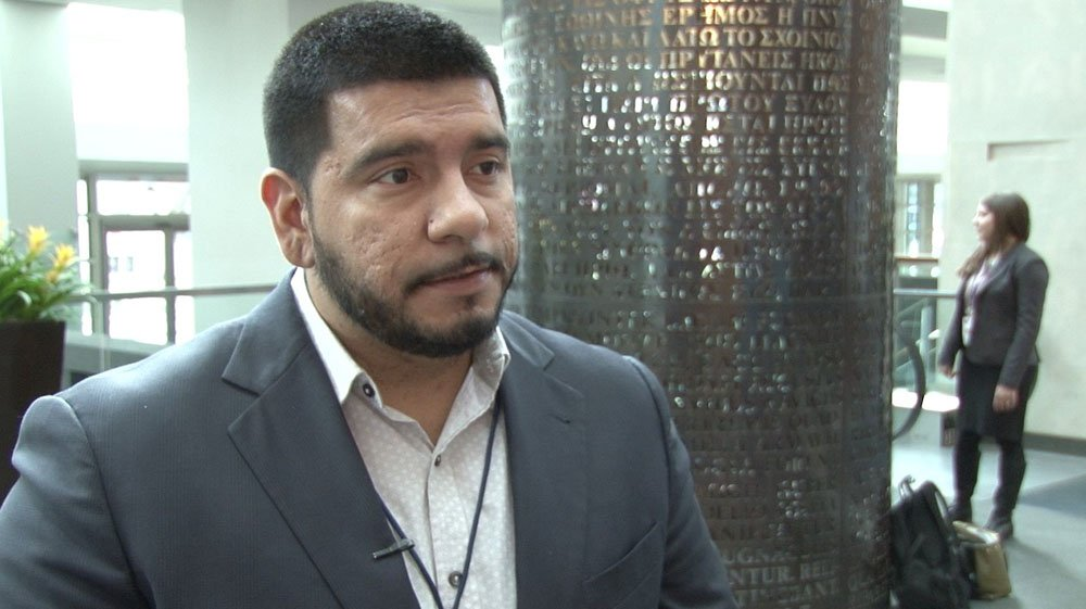 Tomas Robles, an official with Living United for Change iin Arizona, or LUCHA, said bills currently being considered by the Legislature will chip away at voter access. (Source: Ziyi Zeng/Cronkite News)