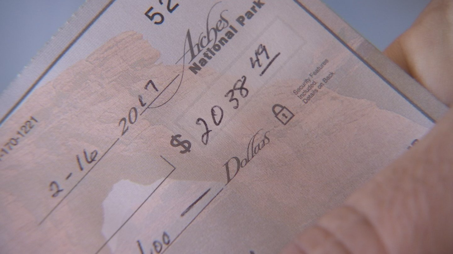 The check was for $2,038.49. (Source: 3TV)