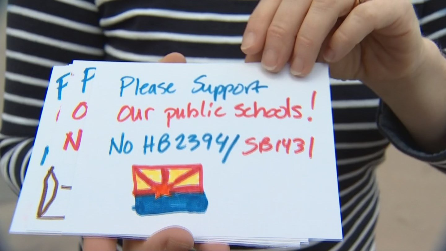 Teachers, parents and students became lobbyists and wrote out hundreds of postcards to drop off with legislative leaders. (Source: 3TV/CBS 5)