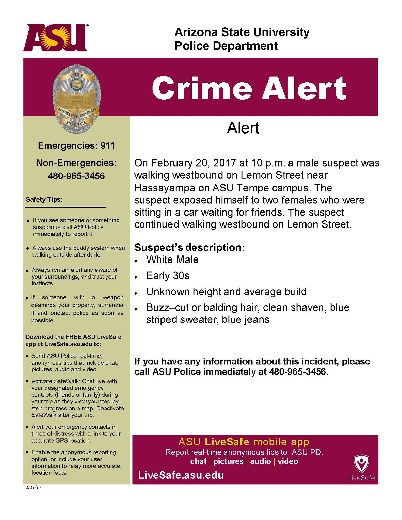 Click image to enlarge (Source: Arizona State University Police Department via Twitter)
