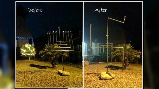 A Chandler family's Hanukah menorah was turned into a symbol of hate in December. (Source: Naomi Ellis)