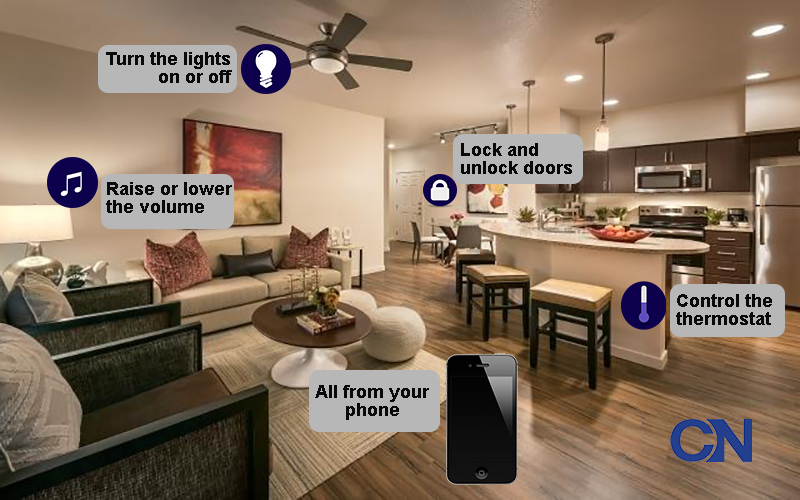 In the Vistara at San Tan Village smart apartments, you can control the thermostat, turn on the lights, lock the door and blast music with your phone. (Source: Mark Taylor Properties, Zach Vega via Creative Commons, Chelsea Shannon/Cronkite News)