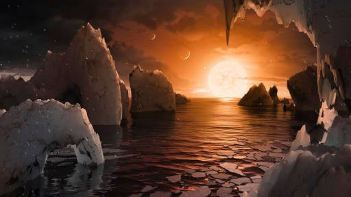 (NASA/JPL-Caltech via AP). This image provided by NASA/JPL-Caltech shows an artist's conception of what the surface of the exoplanet TRAPPIST-1f may look like, based on available data about its diameter, mass and distances from the host star.