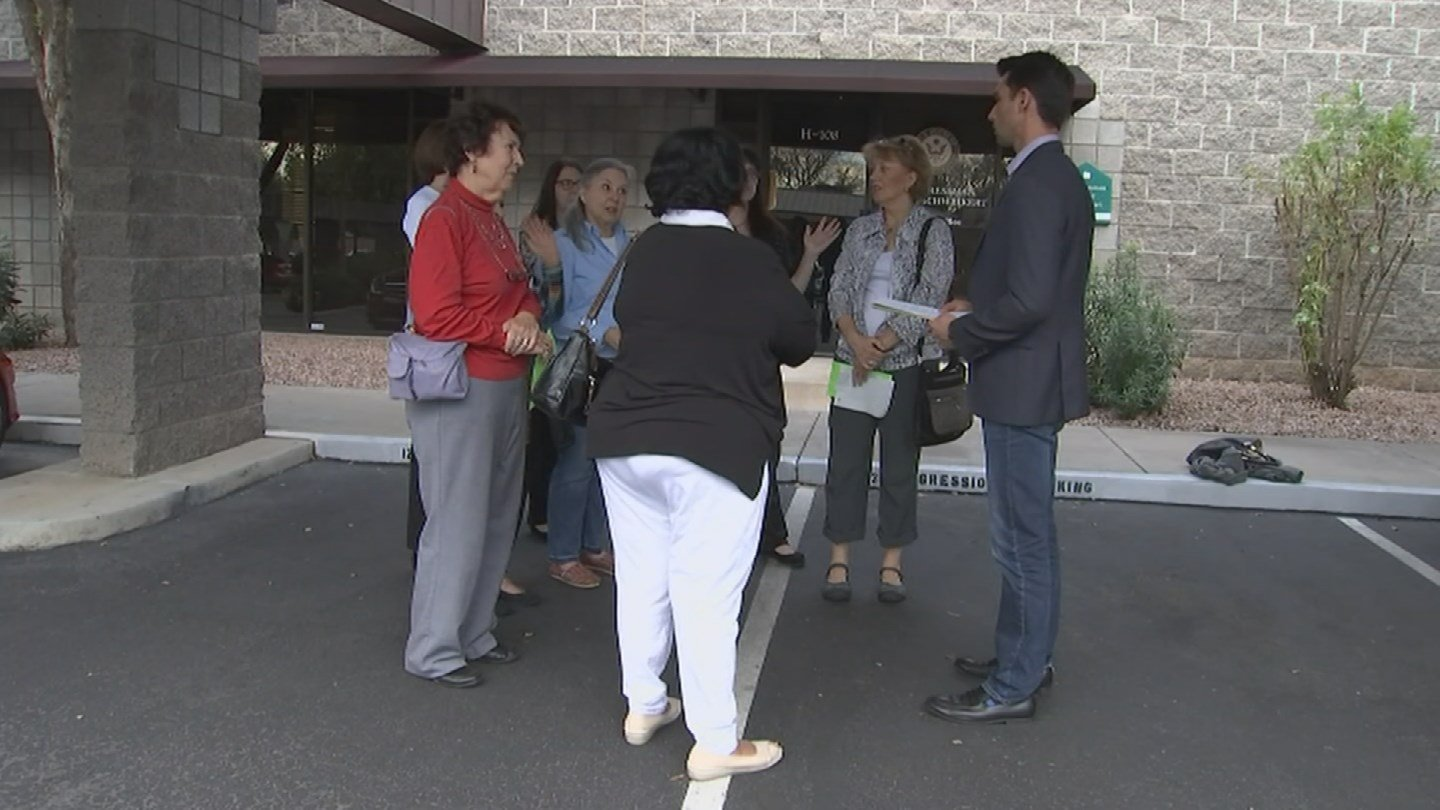 Voters were outside of Rep. David Schweikert's office, hoping for a town hall. (Source: 3TV/CBS 5)