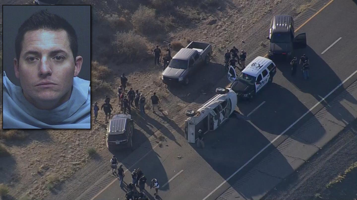 Marana P.D. confirmed that Joshua Monigold was behind the wheel of a pickup truck that rolled while fleeing police Thursday evening. (Source: KPHO/KTVK and Marana Police Dept.)