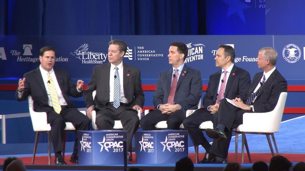 GOP governors saying states are 'reclaiming America's promise' included, from left, Govs. Doug Ducey of Arizona, Sam Brownback of Kansas, Scott Walker of Wisconsin and Matt Bevin of Kentucky. (Source: Ziyi Zeng/Cronkite News)