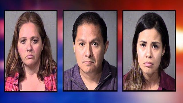 Lilly Adams (left), Ruben Sandoval and Perla Denise Sierra Duarte. (Source: Maricopa County Sheriff's Office)