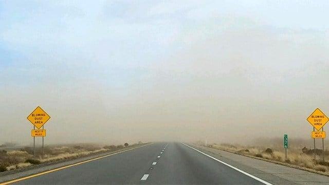 Blowing dust near San Simon Tuesday. (Source: DOT)