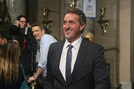 "Sen. Jeff Flake, R-Arizona, said he hoped to ""hear a unifying message"" in President Donald Trump's first speech to Congress, noting that policymakers will have ""to come together to pass big things."" (Source: Cronkite News)"