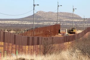 Construction in Naco, Mexico, began in January, yards from the border fence painting. (Source: Charlene Santiago/Cronkite News)