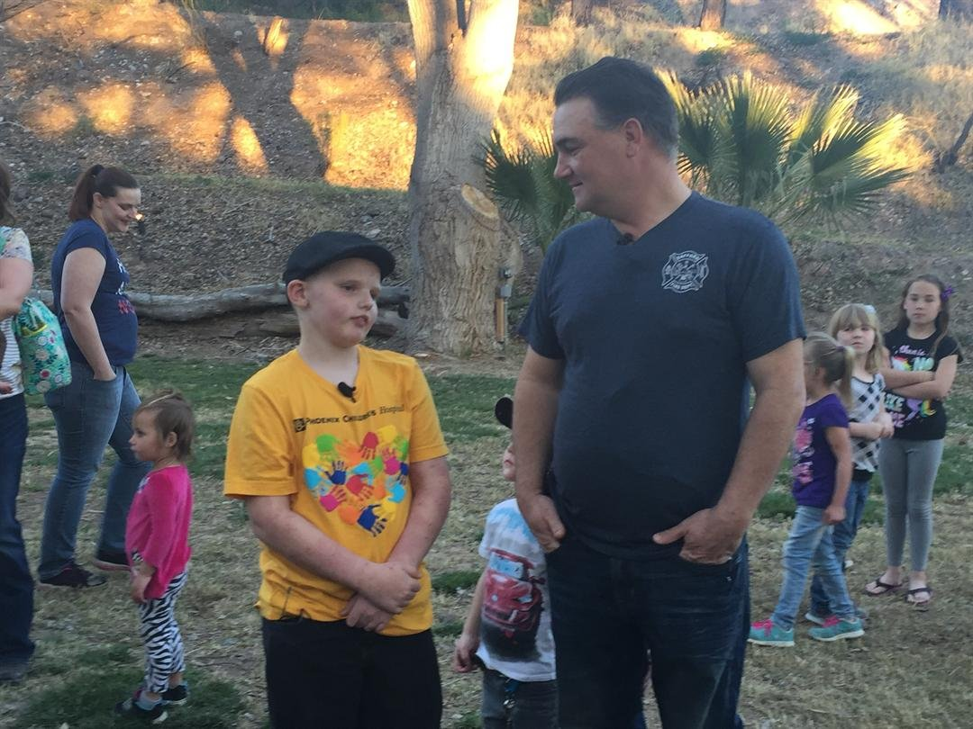 """A Safford boy who was stung more than 400 times by bees last month got to say """"thank you"""" to the first responders who saved his life. (Source: 3TV/CBS 5)"""