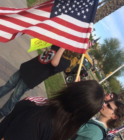 Only a handful of protesters showed up (Source: 3TV/CBS 5)