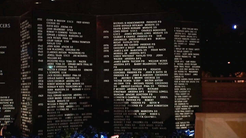 Names of fallen officers at Phoenix-area memorial. (Source: 3TV/CBS 5)