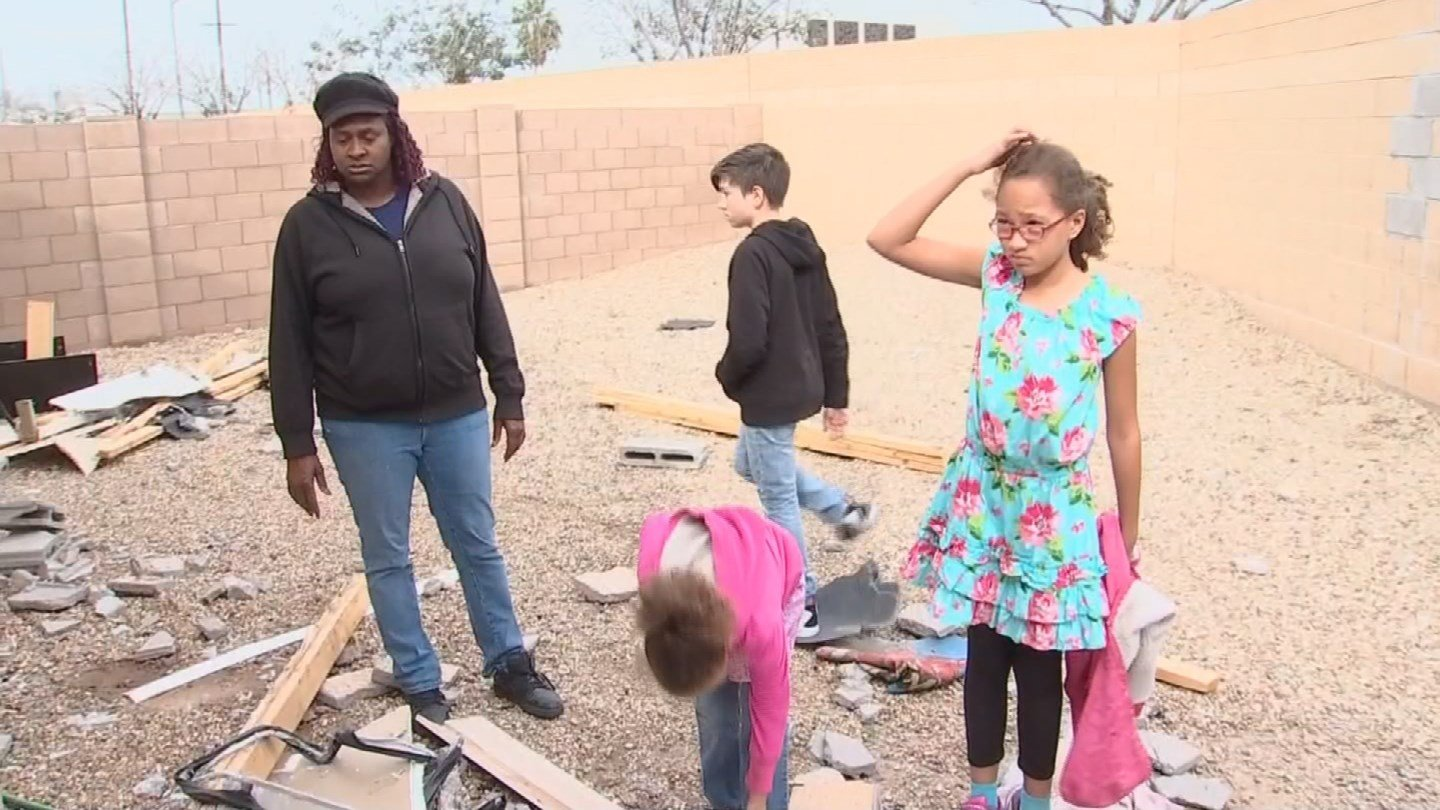 Veronica Davis and her three kids don't have a place to stay after a pickup truck crashed into their home. (Source: 3TV/CBS 5)
