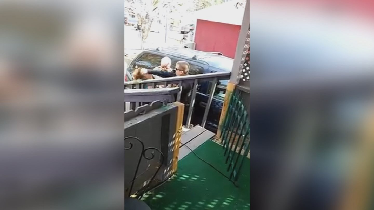 Cellphone video shows a Flagstaff police officer punching Marissa Morris in the face. (Source: 3TV/CBS 5)