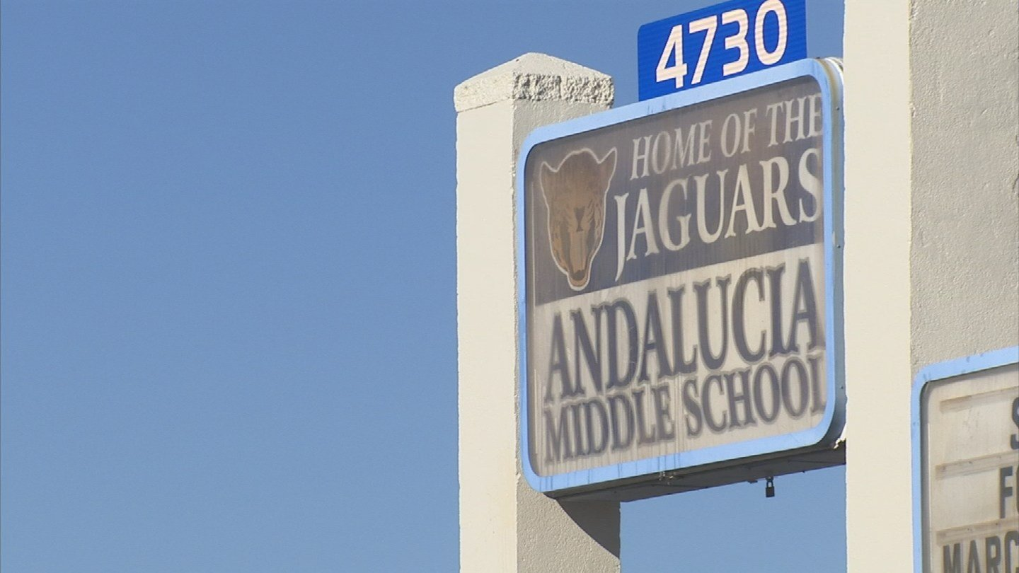 "Andalucia Middle School had the most ""exceedances, with failed water tests in three locations. (Source: 3TV/CBS 5)"