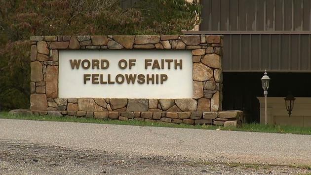 The entrance to the Word of Faith Fellowship church in Spindale, N.C., seen in 2016 (Alex Sanz)