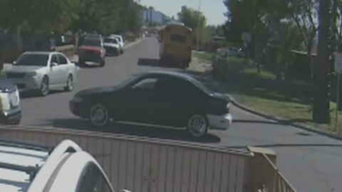 Surveillance videos from neighbors' homes show the driver speeding off, in a late 90s black Honda Accord, with a white bumper. (Source: 3TV/CBS 5)