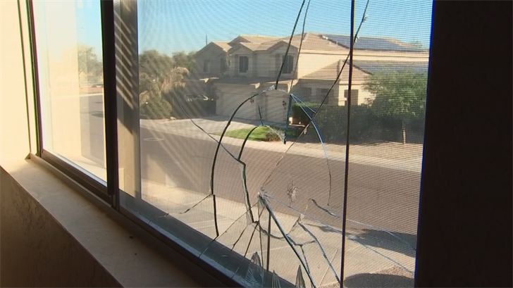 The bullet came in through the upstairs window but didn't hurt anyone. (Source: 3TV/CBS 5)
