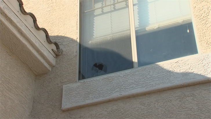 Police told the homeowner it likely came from about a mile away from a gun fired straight into the air. (Source: 3TV/CBS 5)