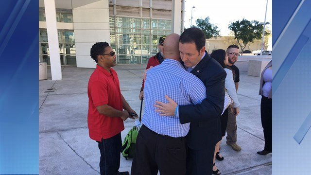 Steve Cooper hugged veterans after the ruling. (Source: 3TV/CBS 5)