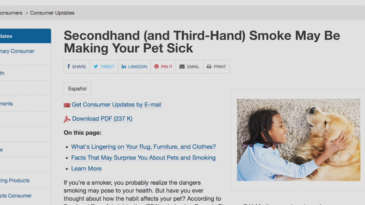 The FDA is issuing a new warning about secondhand and thirdhand smoke and your pets. (Source: 3TV/CBS 5)