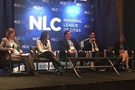 A National League of Cities panel featured local officials talking about ways cities can 'navigate the challenges' of integrating immigrants without running afoul of federal policies. (Source: Joseph Guzman/Cronkite News)