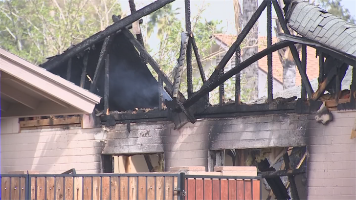 A house was heavily damaged near 35th Avenue and Bell Road due to a fire. (Source: 3TV/CBS 5)