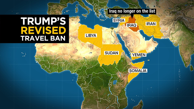 (CNN Graphic) President Donald Trump banned travel from Yemen, Libya, Iran, Somalia, Syria and Sudan. Iraq was removed from the revised travel ban executive order.
