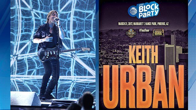 Keith Urban performed at the Grammy's last month. (Source: AP and @FinalFourPhoenix via Twitter)